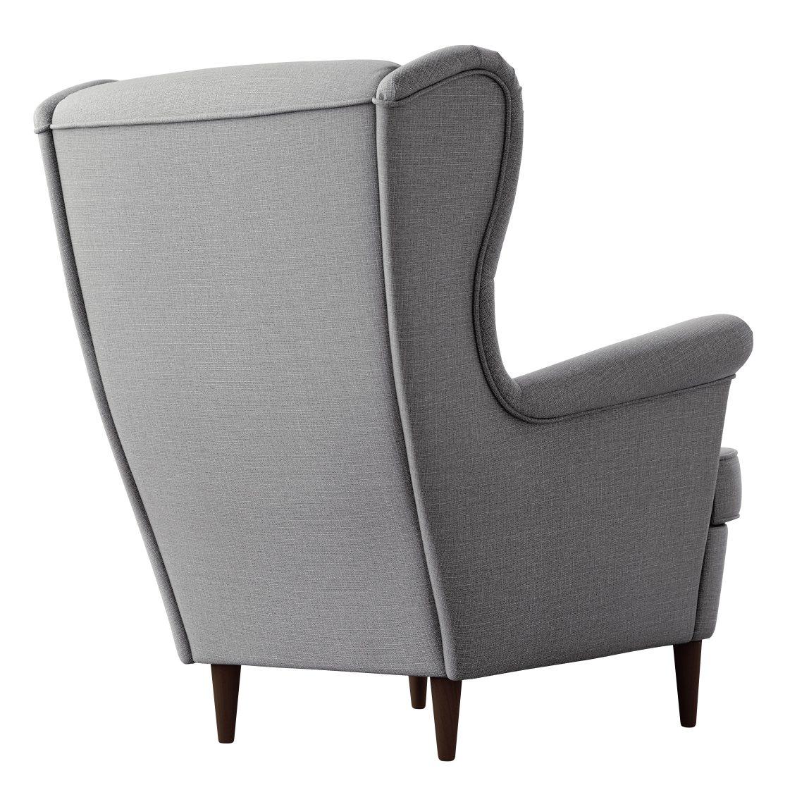 Серое кресло с высокой спинкой на ножках Strandmon икеа