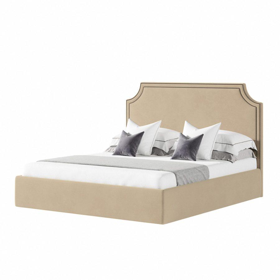 Кровать в горчичном велюре