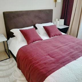 кровать мягкое изголовье коричневый велюр