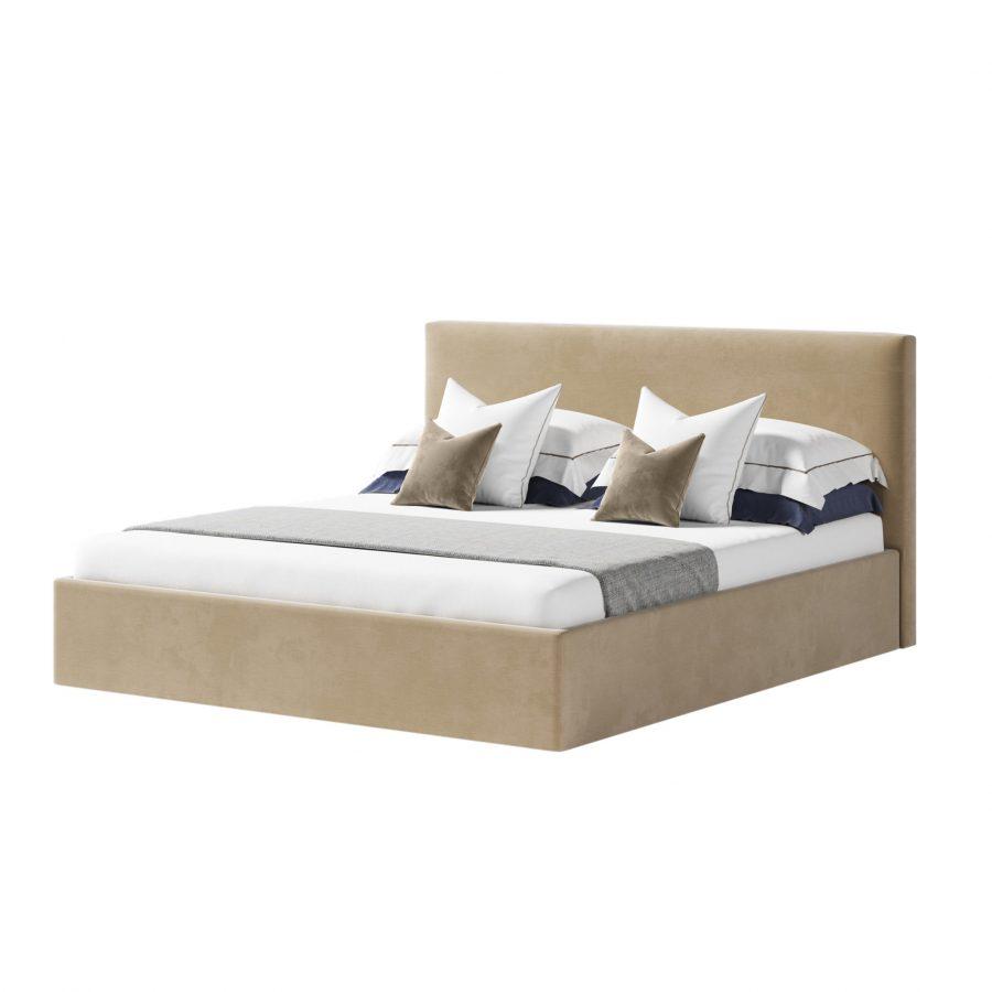 кровать двуспальная с мягким прямым изголовьем