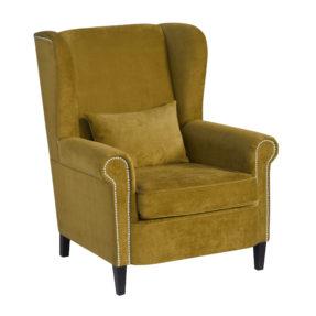 Каминное вольтеровское кресло с высокой спинкой с ушами синее Gramercy Malonne Грамерси американский стиль