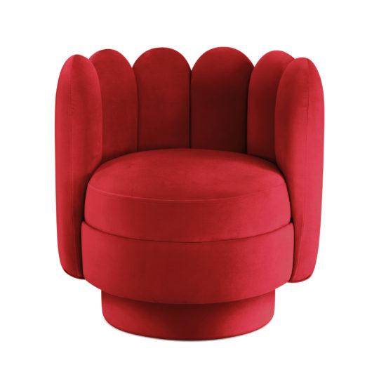 арт-деко кресло с пальчиками красный велюр