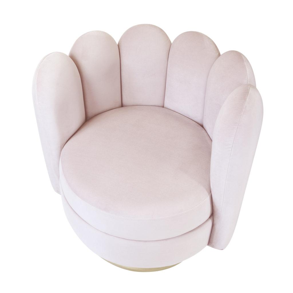 Пудрово-розовое бархатное кресло Sketch Мадави