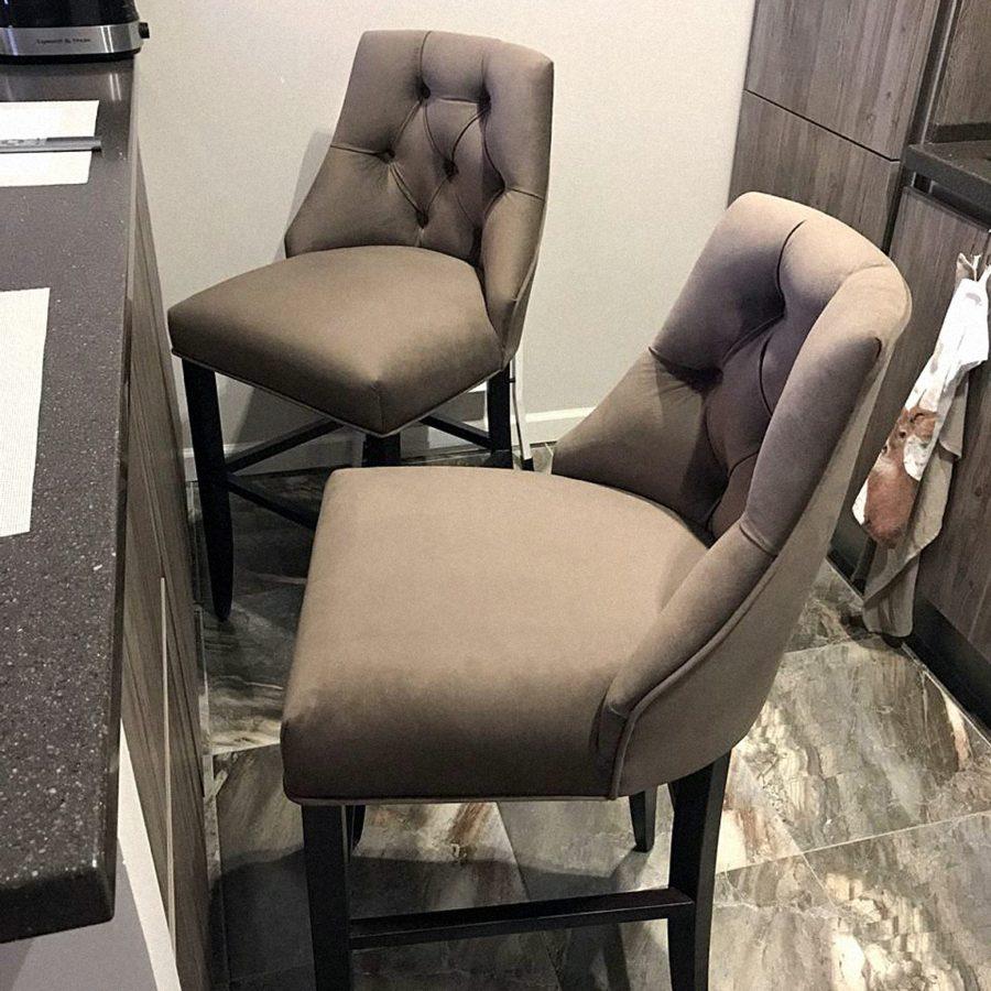 Ар-деко барный мягкий стул велюр