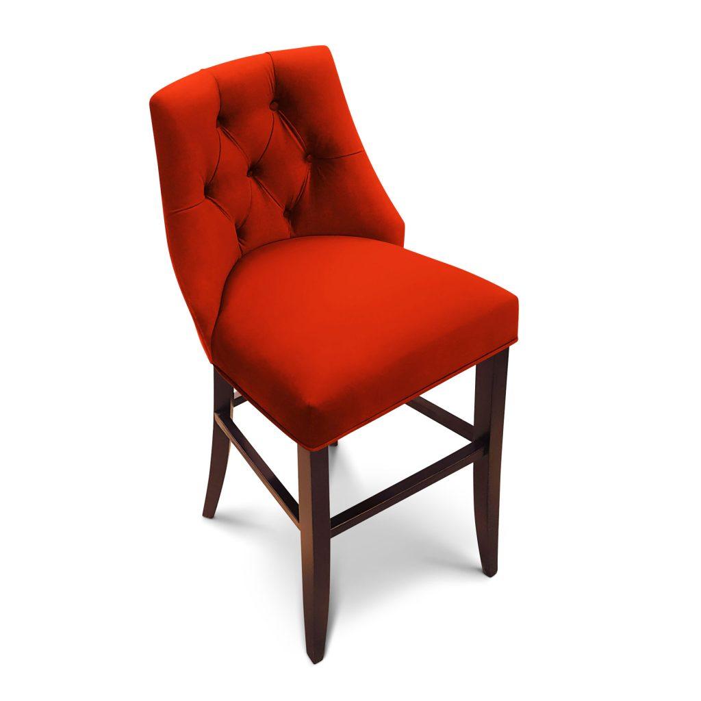 Барный ар-деко стул с капитоне вельвет
