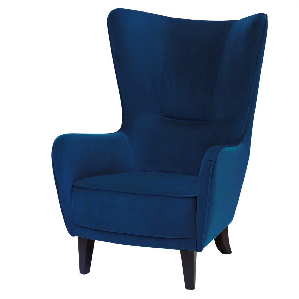 Синее высокое кресло с ушами
