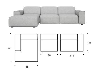 диван модульный размеры