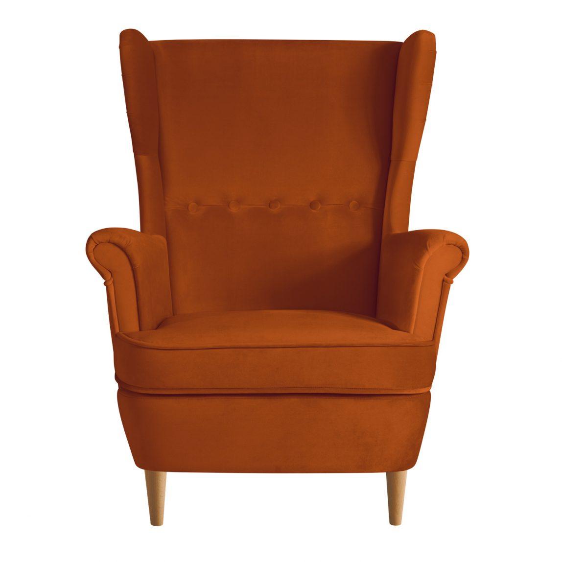 Каминное мягкое кресло в скандинавском стиле с высокой спинкой и подлокотниками