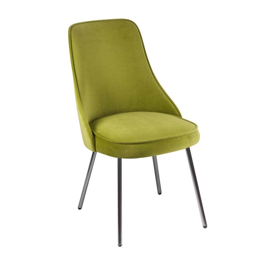 Мягкий современный стул на металлических тонких ножках
