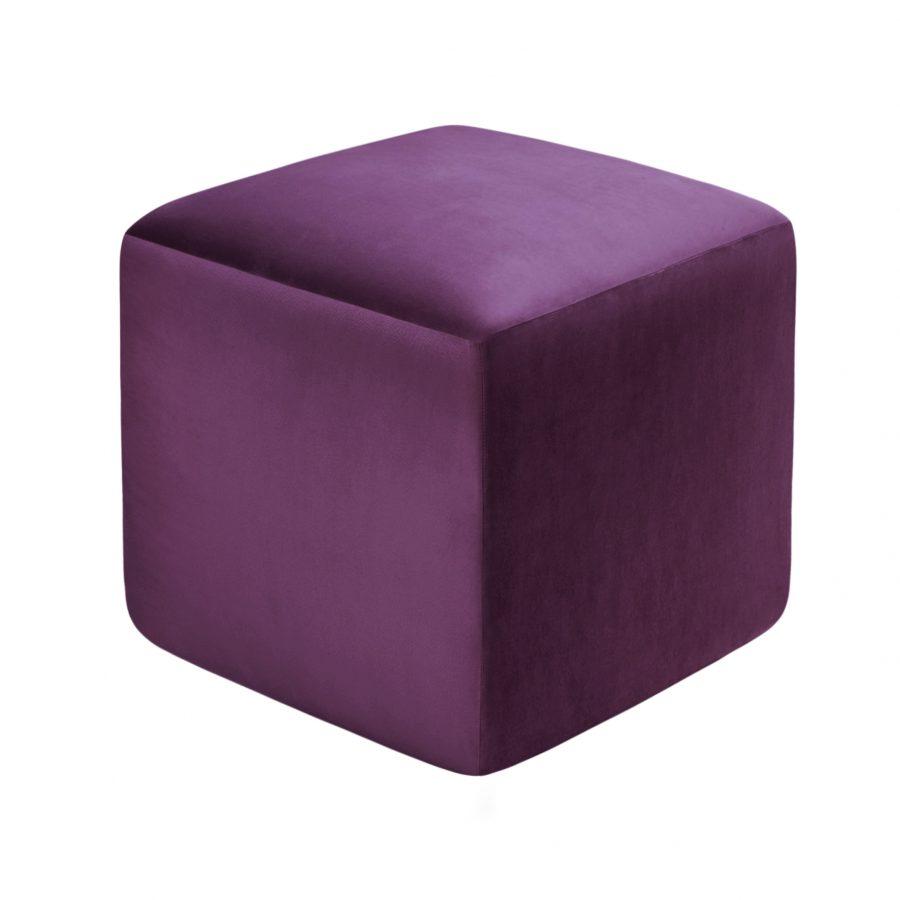 ЛАВСИТ мягкий пуф куб сиреневый велюр