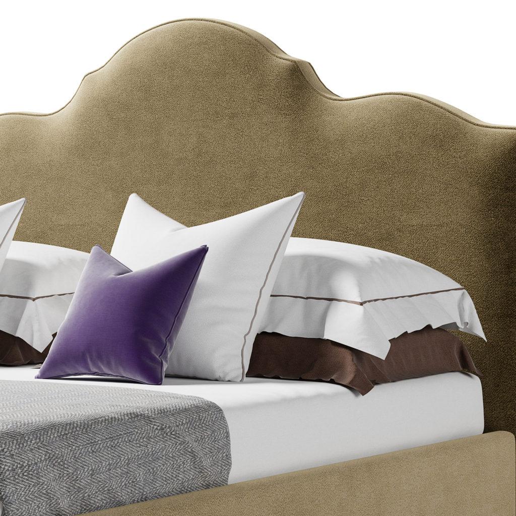 Кровать Диас с изящным мягким изголовьем и закругленным каркасом