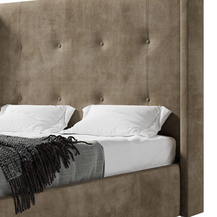 Высокое мягкое изголовье в каретной стяжке и прямыми ушками кровати Норман
