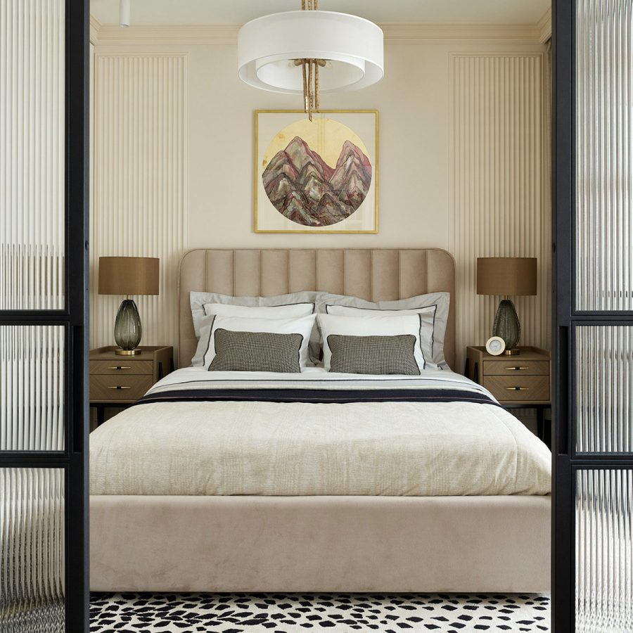 Лавсит стильная кровать с мягким изголовьем